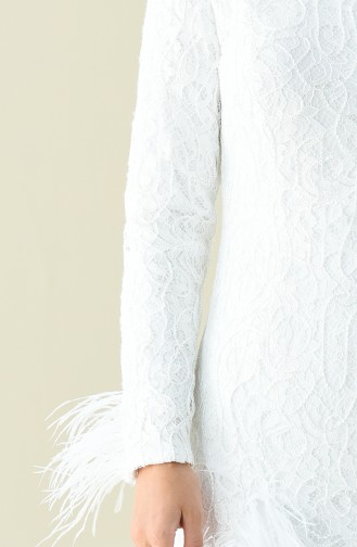 Robe de Soirée à Plumes 4702-06 Blanc 4702-06