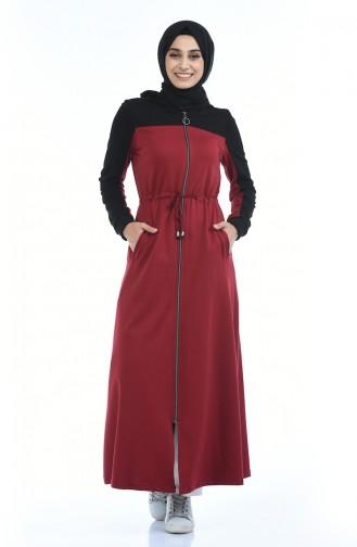 Sport Abaya mit Reissverschluss 4070-01 Schwarz Weinrot 4070-01