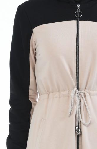 Sport Abaya mit Reissverschluss  4070-02 Schwarz Beige 4070-02