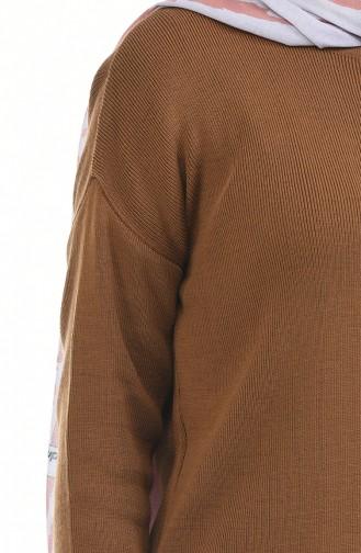 ايلميك طقم تونيك و بنطال بتصميم تريكو 3832-09 لون عسلي داكن 3832-09