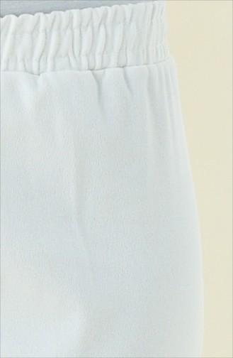 Beli Lastikli Pantolon 2107-01 Beyaz