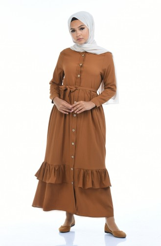 Robe Froncée a Boutons 5790-01 Tabac 5790-01