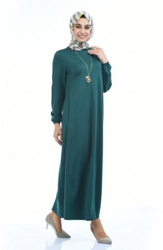 Gummi Kleid mit Halskette 0103-07 Smaragdgrün 0103-07