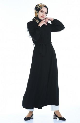 Robe a Ceinture Manches élastique 8353-01 Noir 8353-01