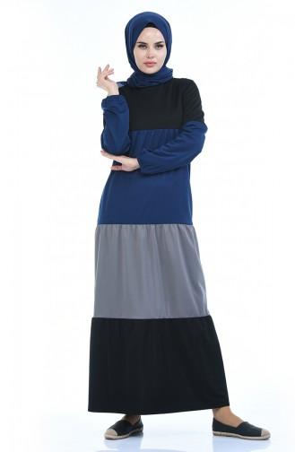 Elastisches Kleid mit Band 4171-03 Indigo 4171-03