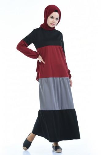 Sleeve Elastic Dress 4171-04 Claret Red 4171-04