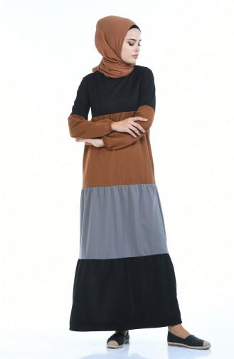 Sleeve Elastic Dress 4171-05 Cinnamon Color 4171-05