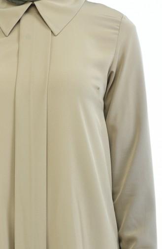 Gömlek Yaka Düz Tunik 9020-03 Bej