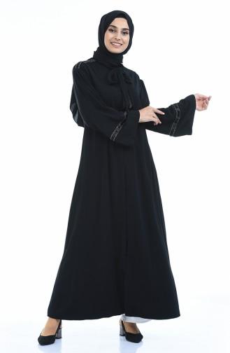 Abaya Perlées a Ceinture 2190-01 Noir 2190-01