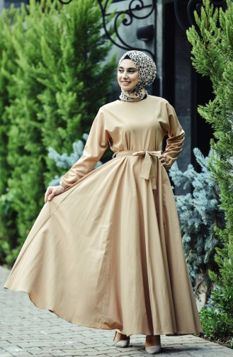 Dunkel-Beige Hijap Kleider 12011-05