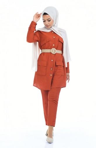 Aerobin Kumaş Kemerli Tunik Pantolon İkili Takım 5826-01 Kiremit