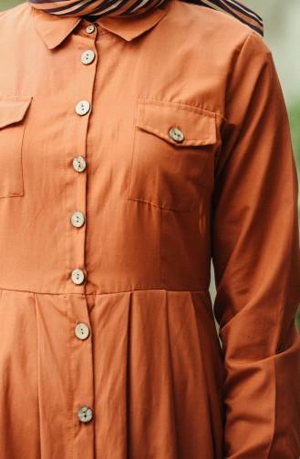 Boydan Düğmeli Elbise 12012-06 Kiremit