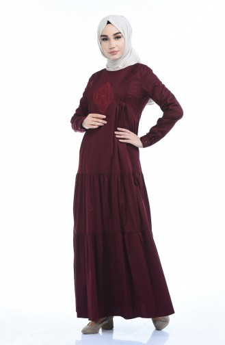 Gerafftes Kleid 4055-03 Weinrot 4055-03