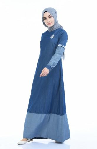 Robe Jean Brodée 4078-02 Bleu Marine 4078-02