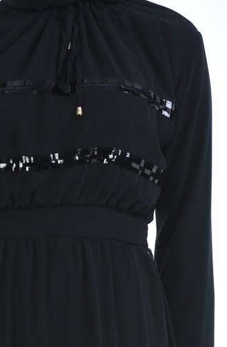 Robe Détail Paillettes 2165-01 Noir 2165-01