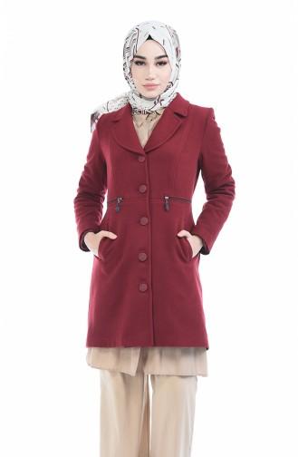 Claret red Long Coat 1485-02