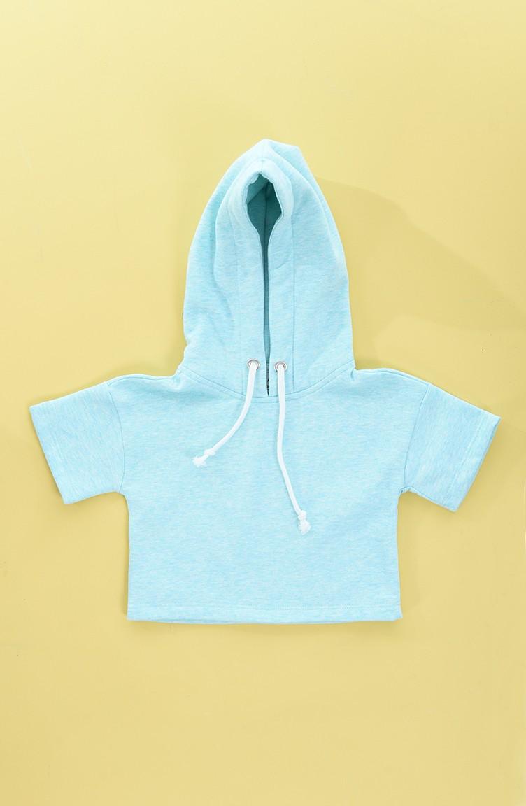 Sweat a Capuche Pour Enfant Fille 0071 02 Vert Menthe 0071 02