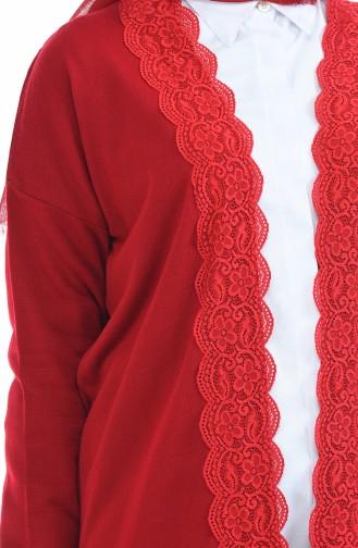Trikot Spitze-detaillerte Strickjacke 4916-06 Rot 4916-06