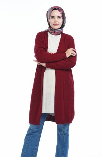 Claret red Cardigan 4132-03