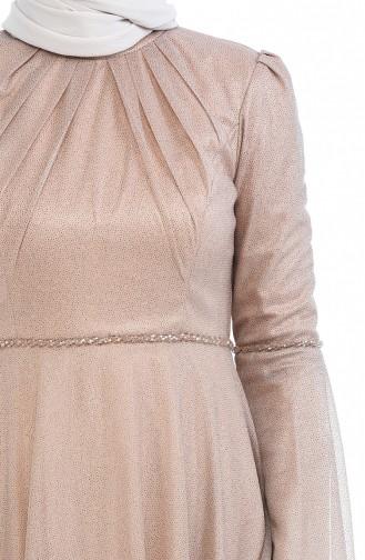 Simli Abiye Elbise 9012-05 Koyu Bej