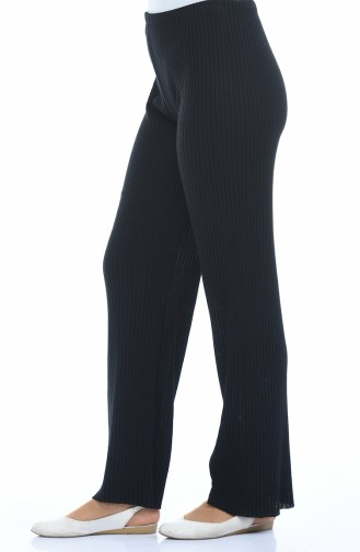 Fitilli Bol Paça Pantolon 1301-01 Siyah