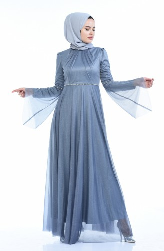 فساتين سهرة بتصميم اسلامي رمادي 9012-01
