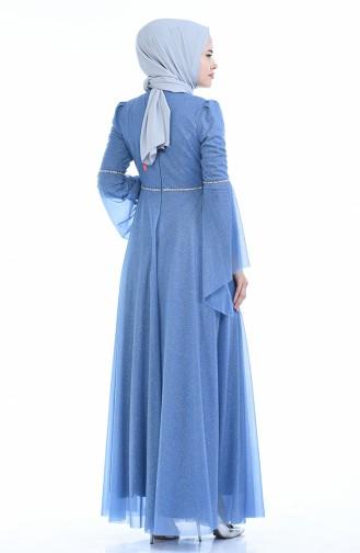 Silbernes Abendkleid 9012-03 Blau 9012-03