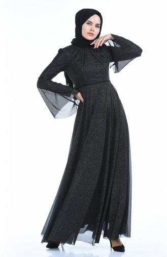 Simli Abiye Elbise 9012-04 Siyah