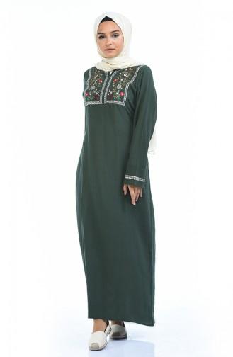 Besticktes Kleid mit Şile-Stoff 6000-03 Khaki Grün 6000-03