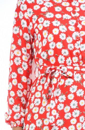 Viskose Kleid mit Gummi 4242A-03 Rot 4242A-03