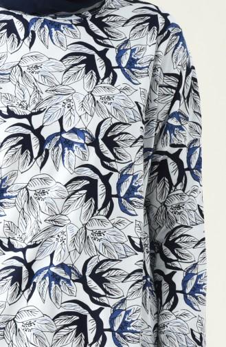 Desenli Tunik 1046-01 Beyaz