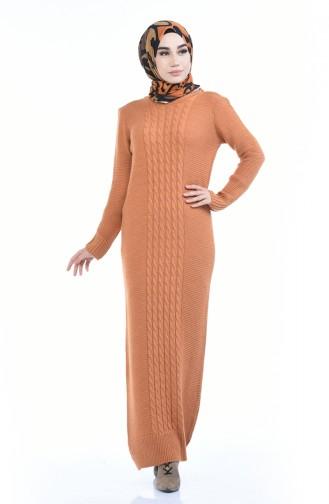 Triko Örgü Desen Elbise 4786-04 Taba