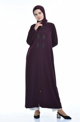 Steiniges Abaya mit Reissverschluss   0084-01 Zwetschge 0084-01