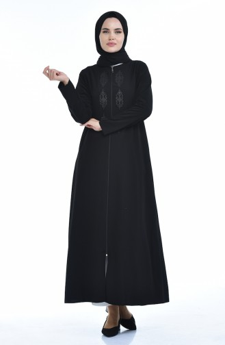 Steiniges Abaya mit Reissverschluss 0084-02 Schwarz 0084-02