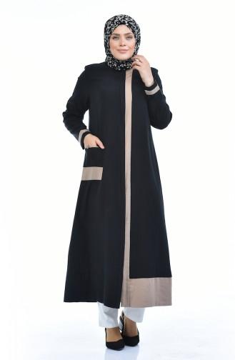 Abaya en Lin Grande Taille 0377-02 Noir 0377-02