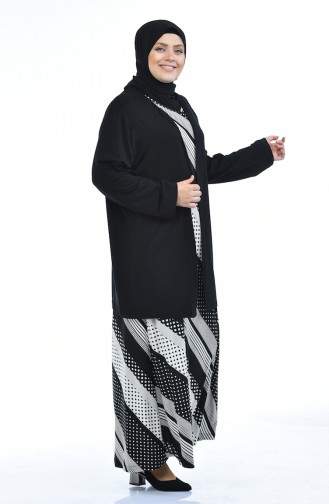 Grosse Grösse Strickjacke Kleid Doppel Set 8372G-01 Schwarz 8372G-01