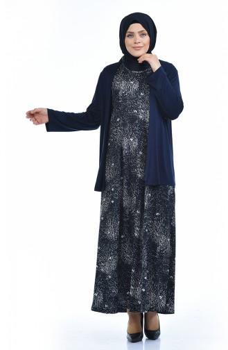 Grosse Grösse Strickjacke Kleid Doppel Set  8372H-02 Dunkelblau 8372H-02