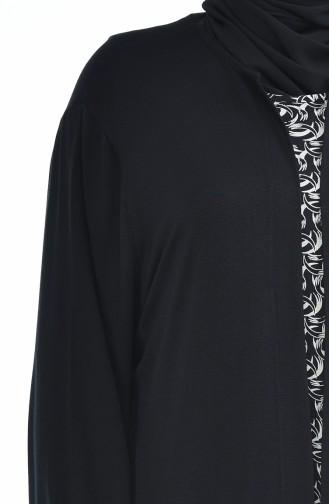 Grosse Grösse Strickjacke Kleid Doppel Set  8372J-01 Schwarz 8372J-01