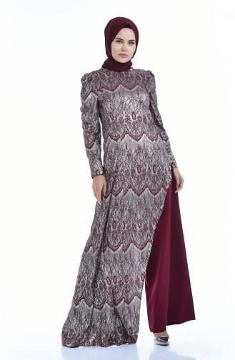 Silbernes Abendkleid Doppel Set 7001-01 Zwetschge 7001-01