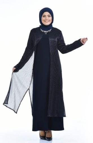 Navy Blue Islamic Clothing Evening Dress 1071-02