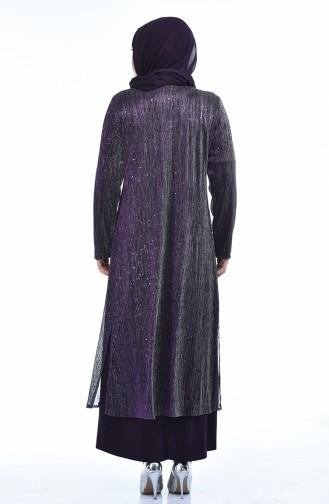 Büyük Beden Takım Görünümlü Abiye Elbise 1071A-01 Mürdüm