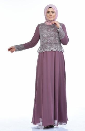 Robe de Soirée a Paillettes Grande Taille 1299-01 Rose Pâle 1299-01