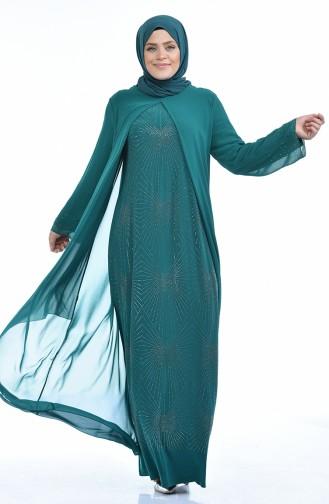 فساتين سهرة بتصميم اسلامي أخضر حشيشي 6211-05