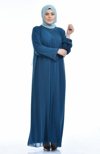 فساتين سهرة بتصميم اسلامي أزرق زيتي 6227-05