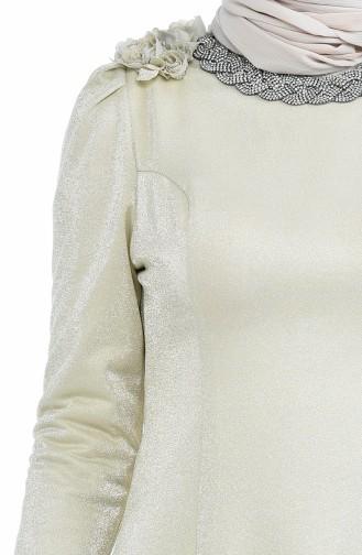 Beige Hijab-Abendkleider 7054-02