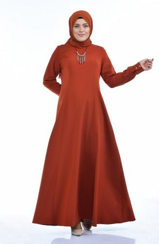 فستان قرميدي 9013-01