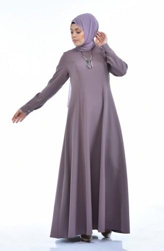 Grosse Grösse Kleid mit Halskette 9013-02 Dunkel Lilafarbig 9013-02
