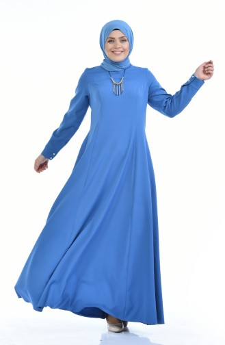 Büyük Beden Kolyeli Elbise 9013-03 Mavi