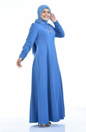 Robe avec Collier Grande Taille 9013-03 Bleu 9013-03