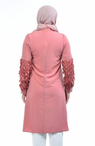 Grosse Grösse Armdetaillierte Abendkleid Tunika 1658-03 Puder Rosa 1658-03